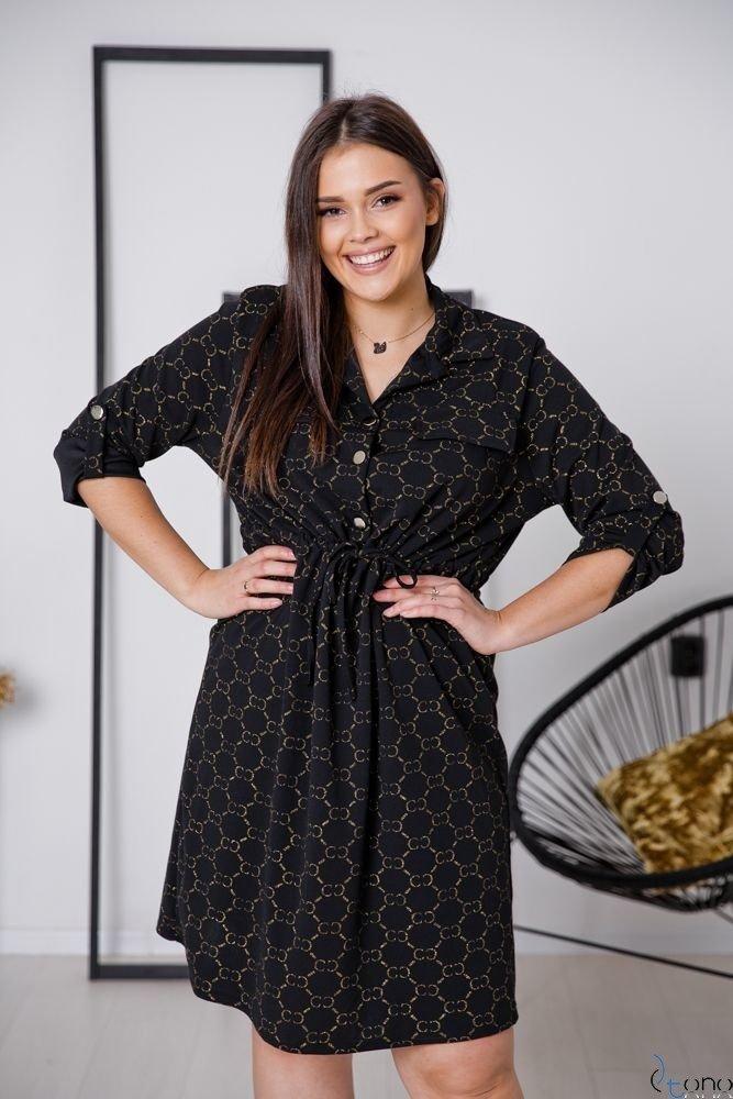 Czarno-Złota Sukienka MUERA Plus Size