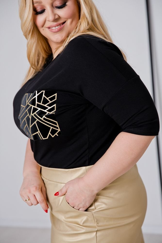 Czarno-złota Bluzka LORDENA Plus Size Wzór 1