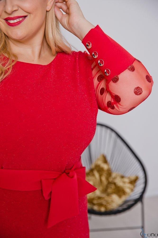 Czerwona Sukienka BERTA Plus Size