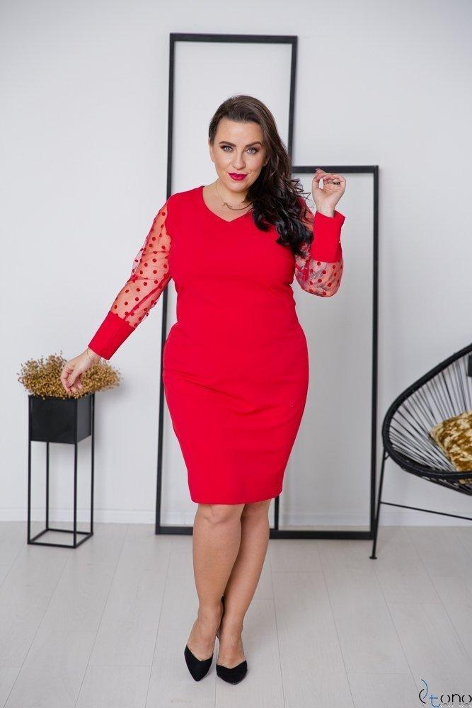 Czerwona Sukienka BOFFINA Plus Size