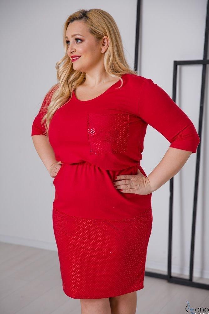 Czerwona Sukienka GRASSINA Plus Size