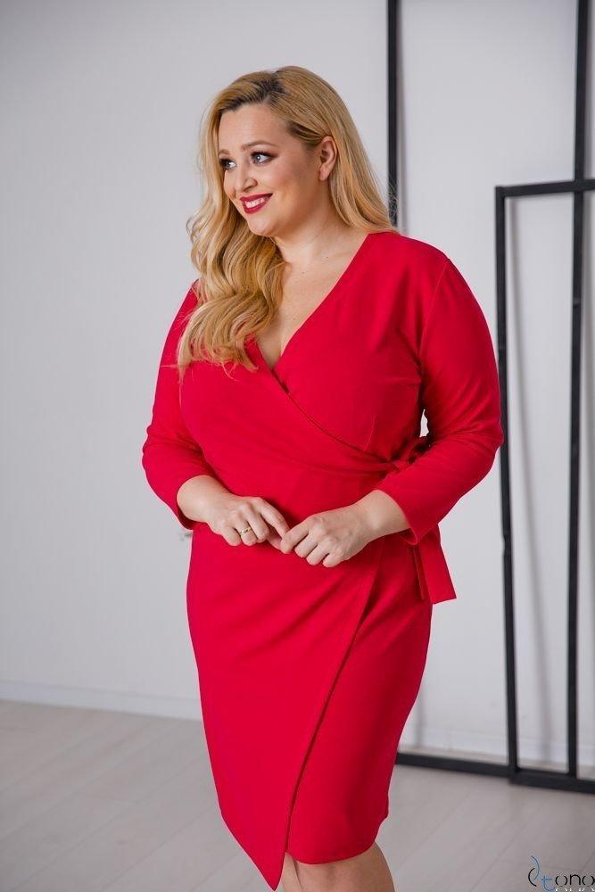 Czerwona Sukienka MALENA Plus Size