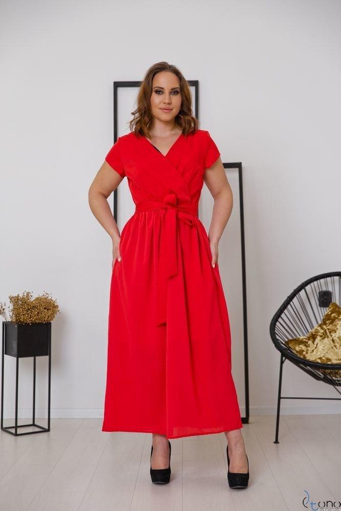 Czerwona Sukienka MALIKKA Plus Size