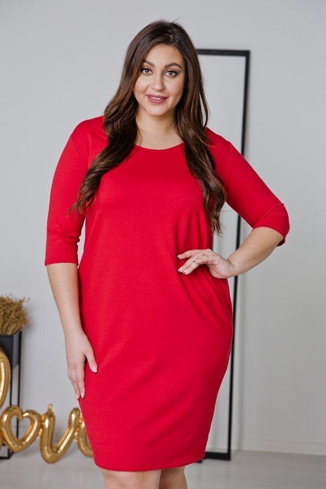 Czerwona Sukienka MISTRA Plus Size