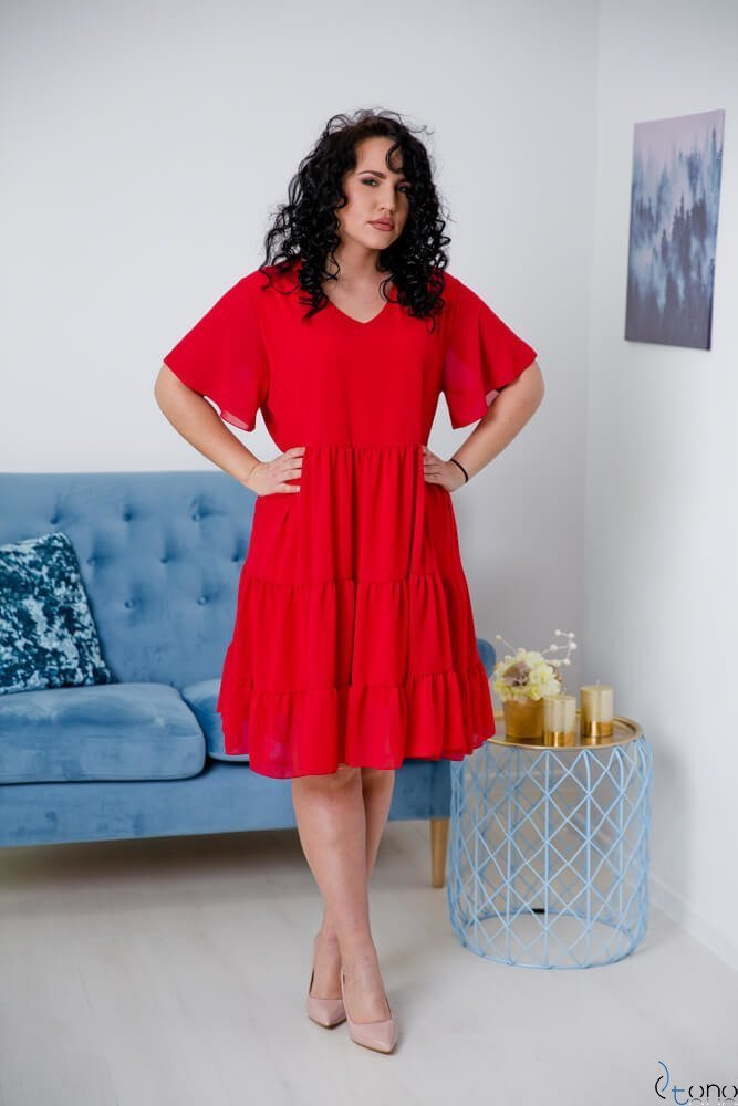 Czerwona Sukienka VENYS Plus Size