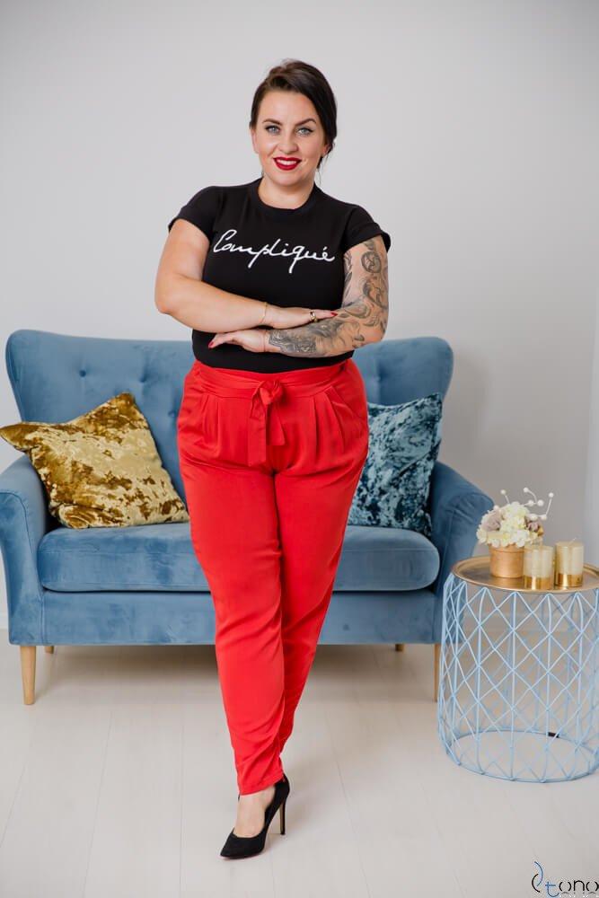 Czerwone Spodnie RABBIO Plus Size