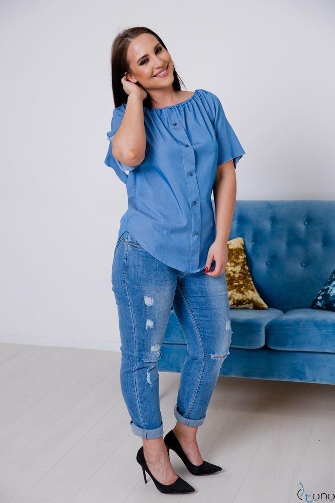 Granatowa Bluzka CARLEY Plus Size