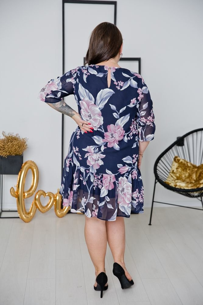 Granatowa Sukienka ESTI Plus Size Wzór 2