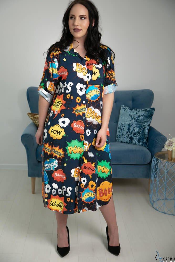 Granatowa Sukienka TONIA Plus Size
