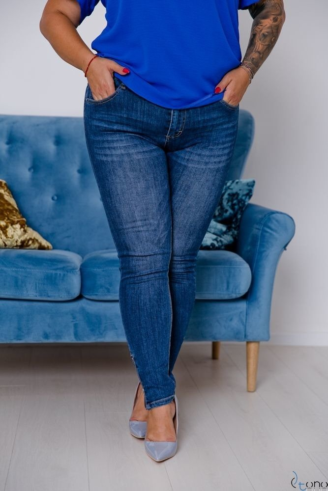 Granatowe Spodnie PERISS Plus Size