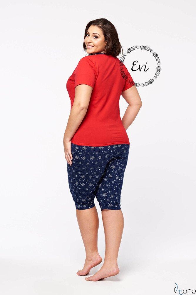 Granatowo-Czerwona Damska Piżama STAR Krótki Rękaw Plus Size