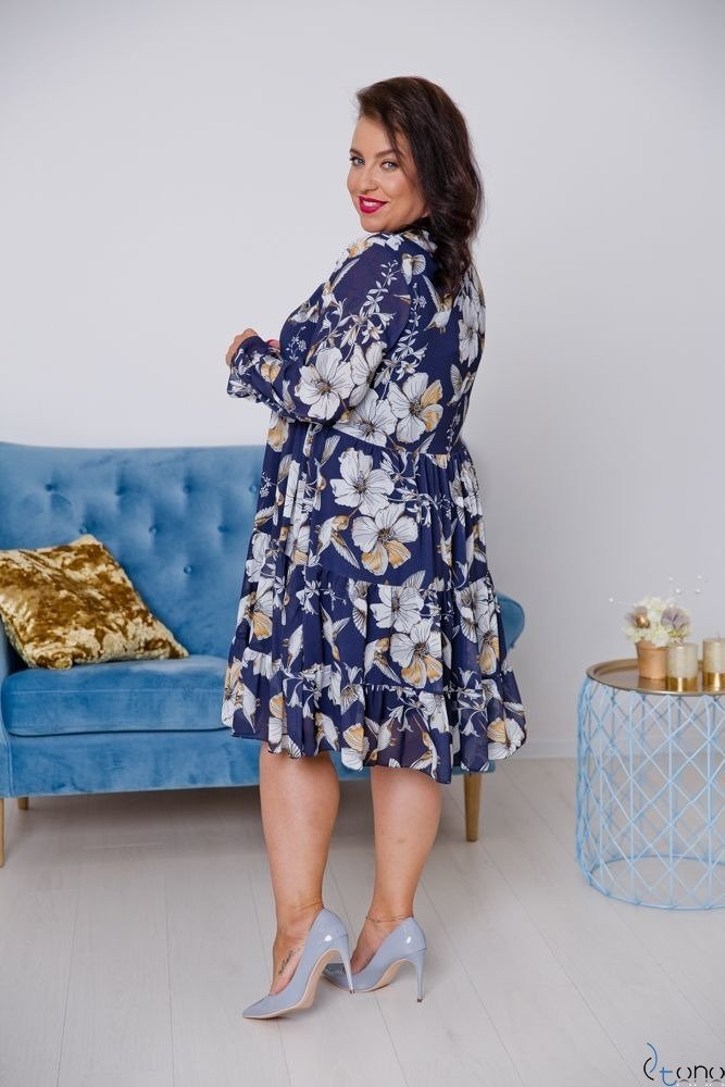 Granatowwa Sukienka OCELIA Plus Size