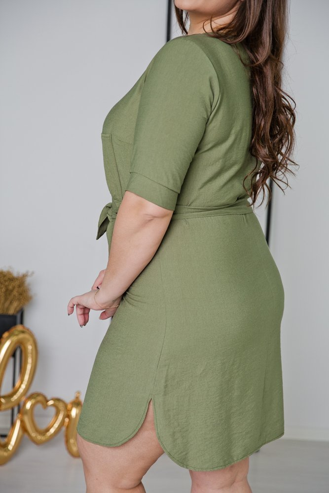 Khaki Sukienka LUMOSA Plus Size