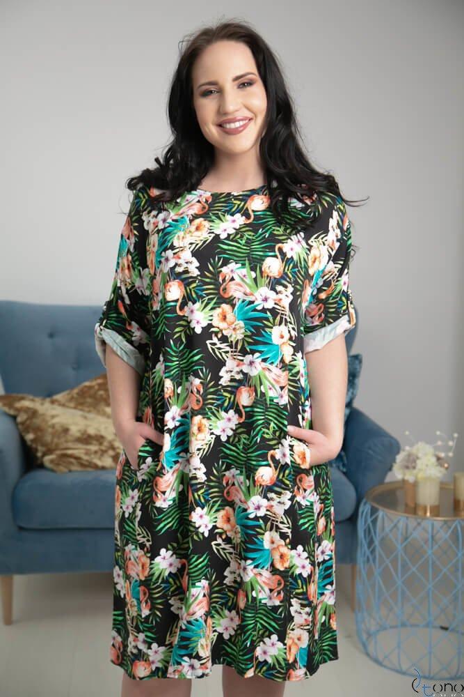 Kolorowa Sukienka AVION Plus Size Wzór 2