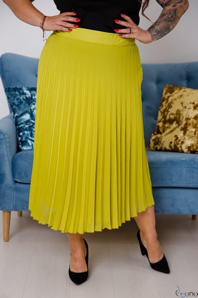 Limonkowa Spódnica VOLTER Plus Size Plisowana