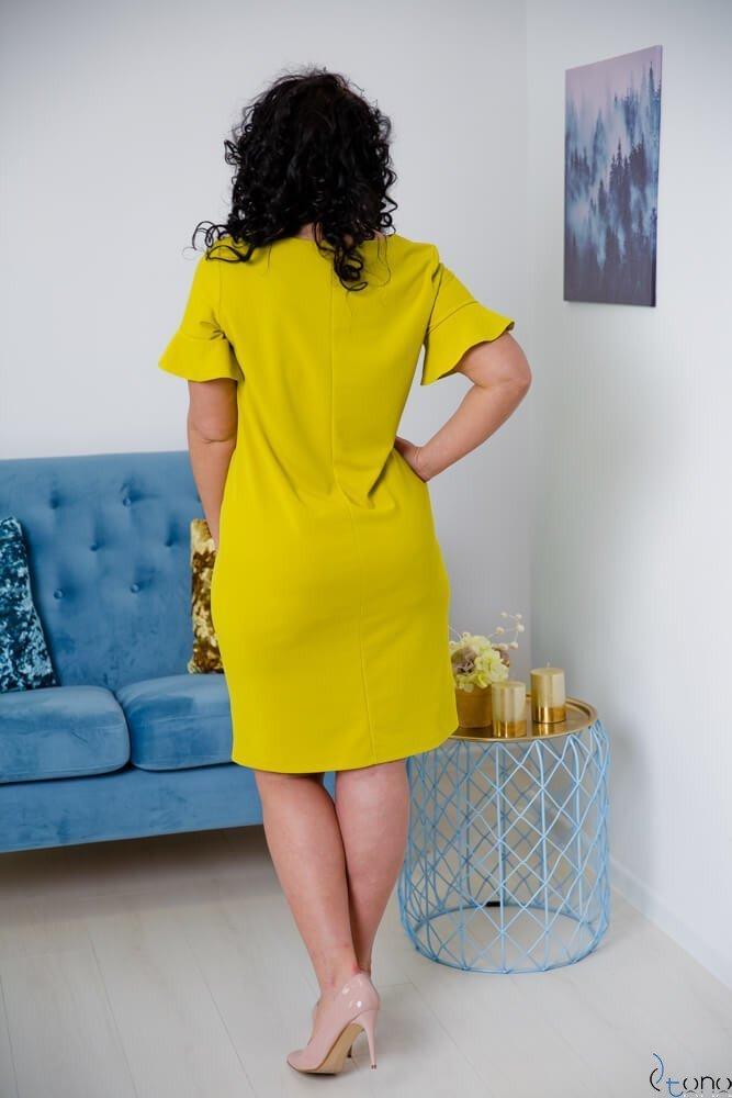 Limonkowa Sukienka VELMA Plus Size