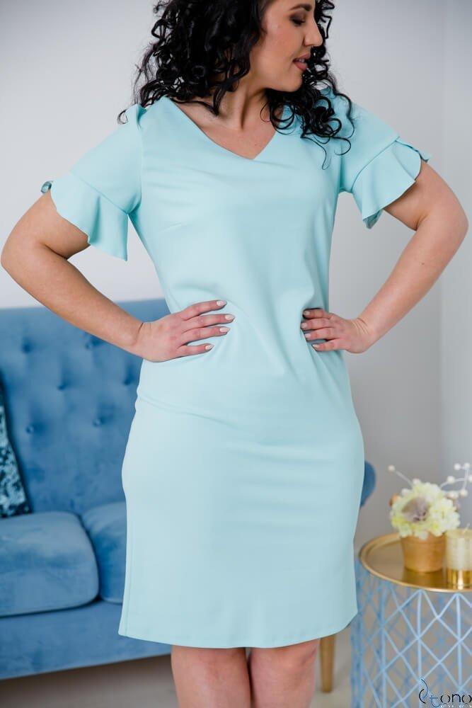 Miętowa Sukienka VELMA Plus Size