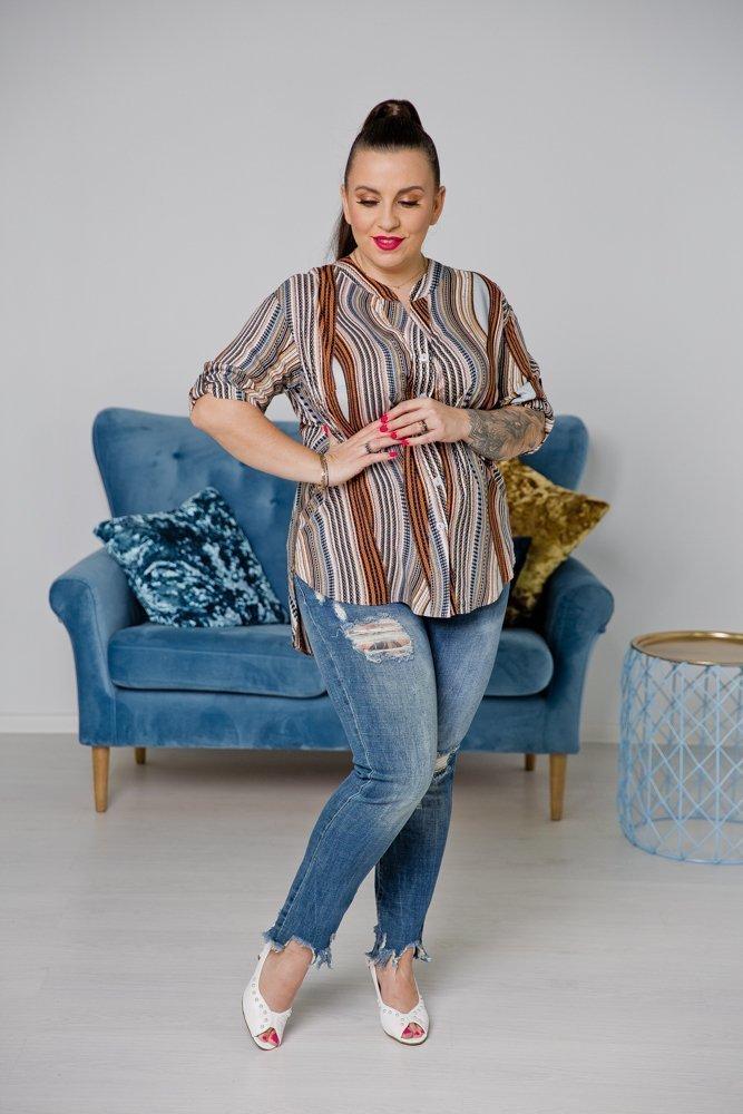 Multikolorowa Koszula TRENA Plus Size