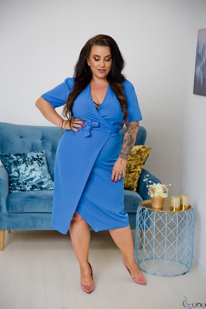 Niebieska Sukienka FERRITA Plus Size
