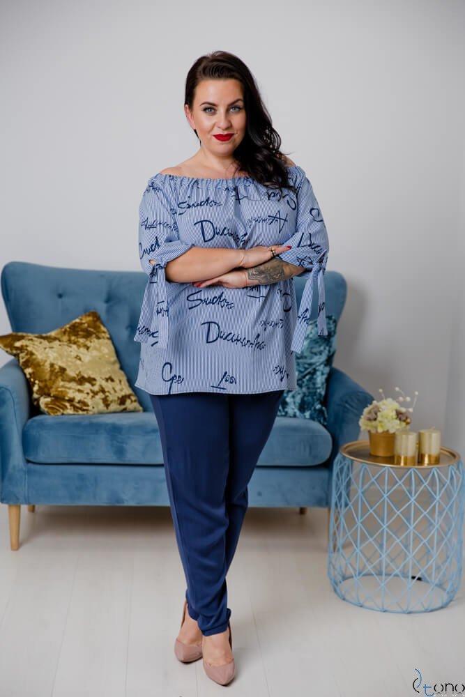 Niebiesko-Biała Bluzka FREGGA Plus Size
