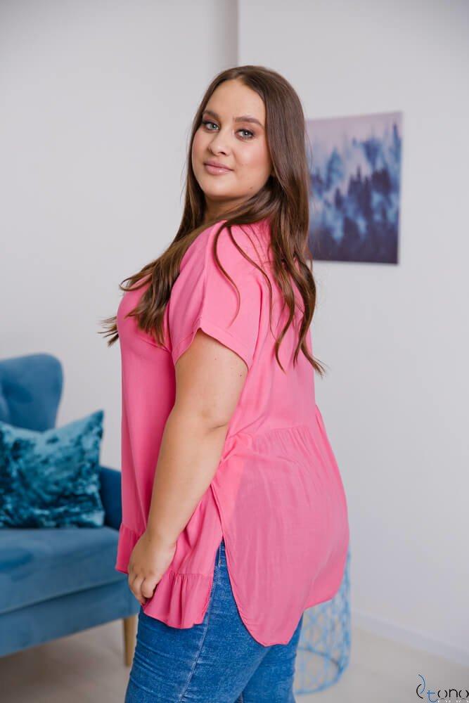 Różowa Bluzka OLTERIA Plus Size