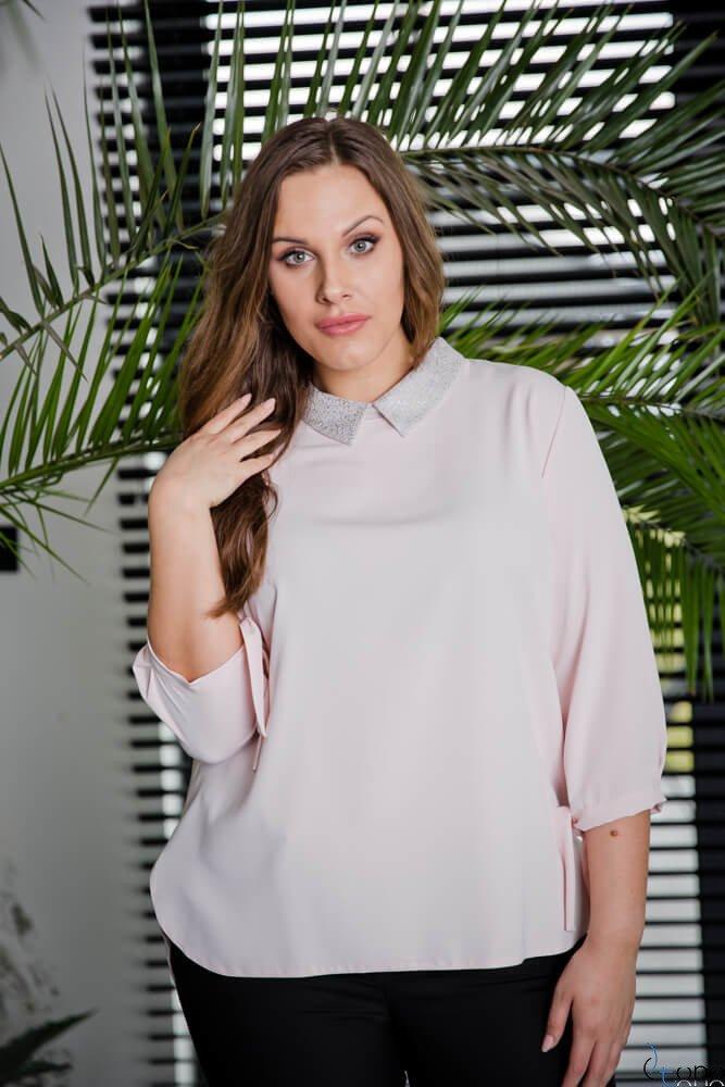 Różowa Bluzka ROTTA Plus Size