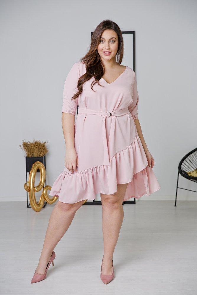 Różowa Sukienka ELENA Plus Size