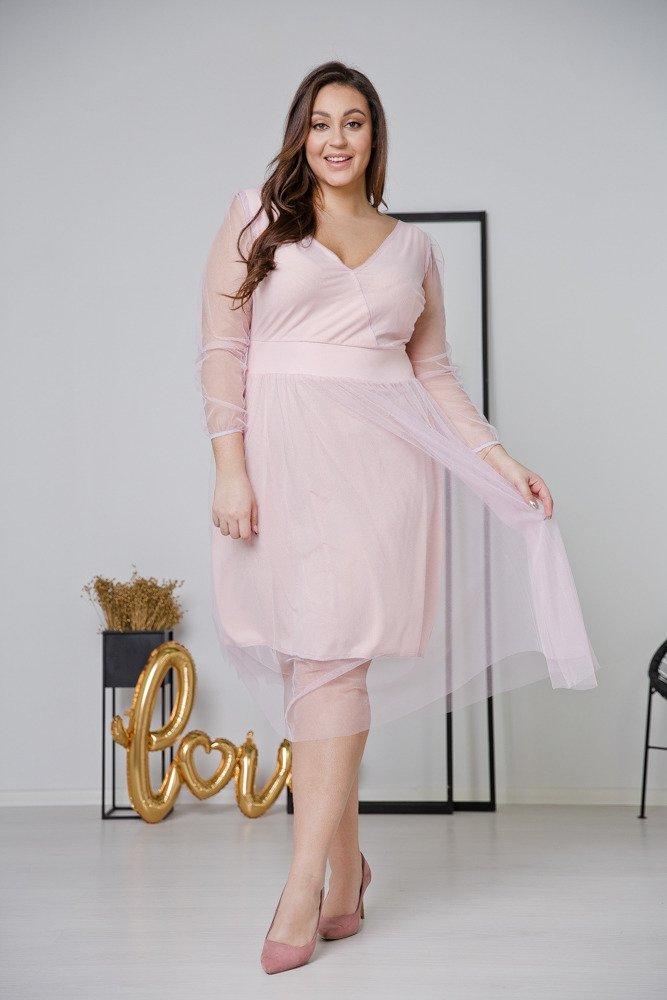 Różowa Sukienka JASMINE Plus Size