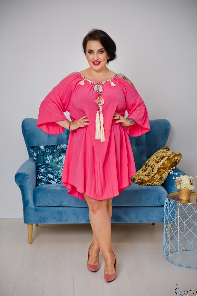 Różowa Sukienka SOLENA Plus Size