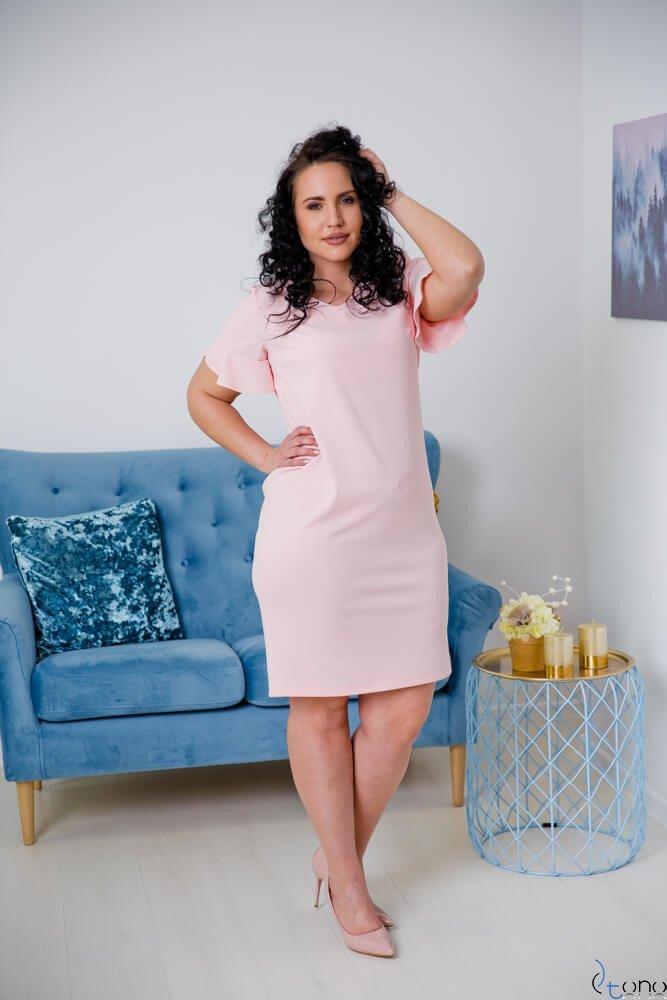 Różowa Sukienka VELMA Plus Size