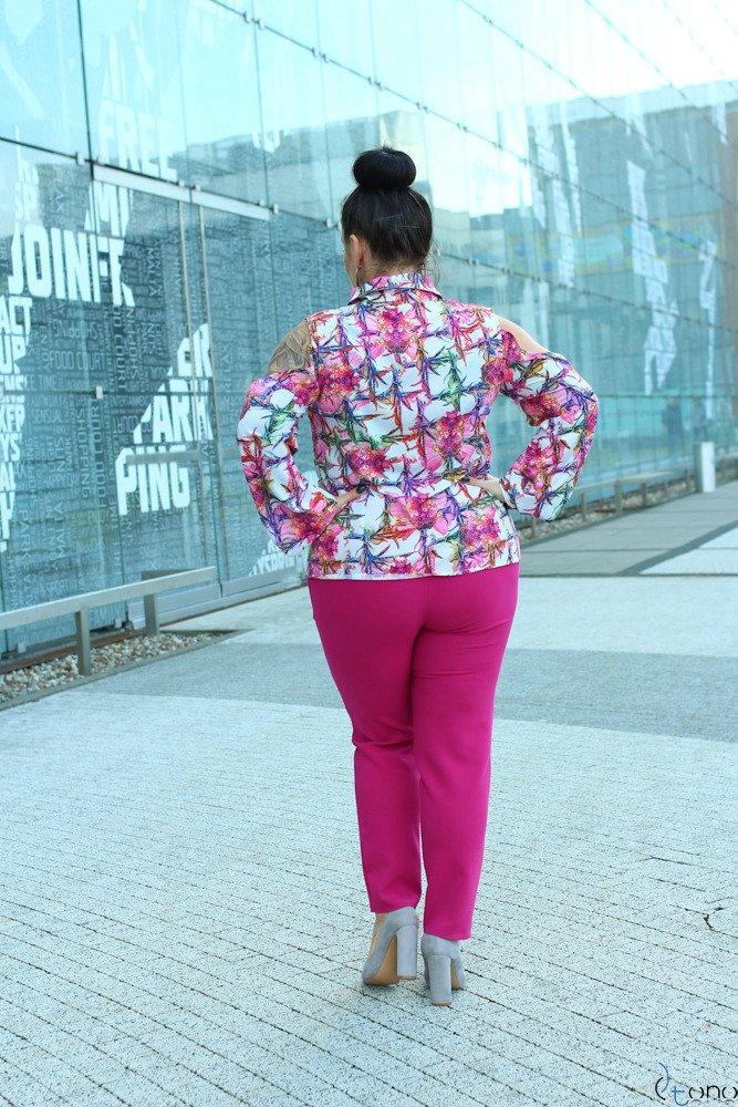 Różowo-Biała Bluzka DOSSY Plus Size