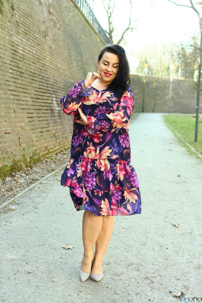 Sukienka SIBILLA Plus Size Szyfon Wzór 1