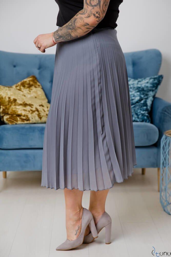 Szara Spódnica VOLTER Plus Size Plisowana