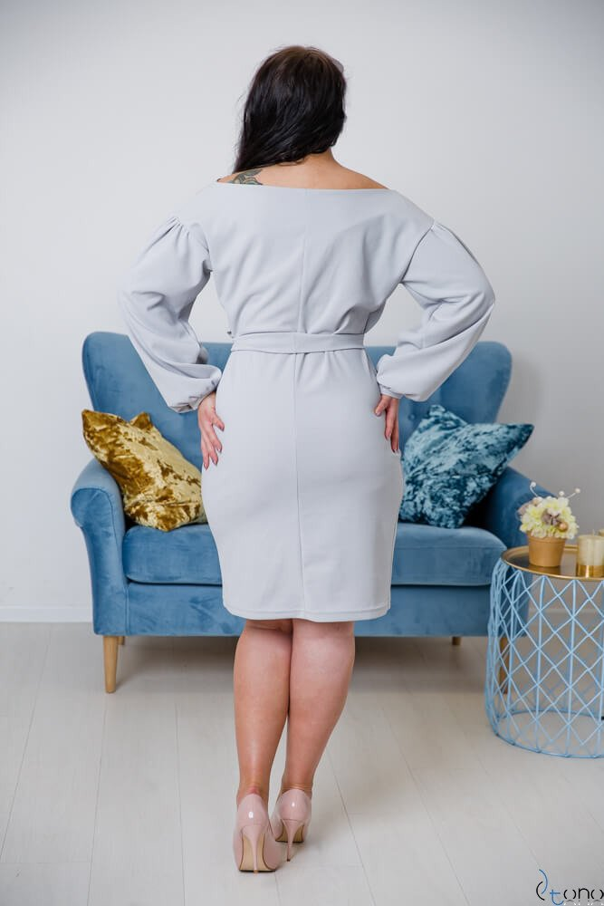 Szara Sukienka ASHLEY Plus Size