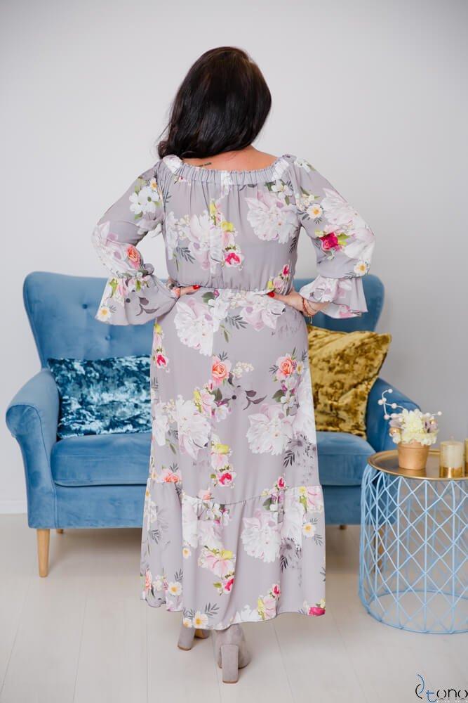 Szara Sukienka BENITA Plus Size Maxi