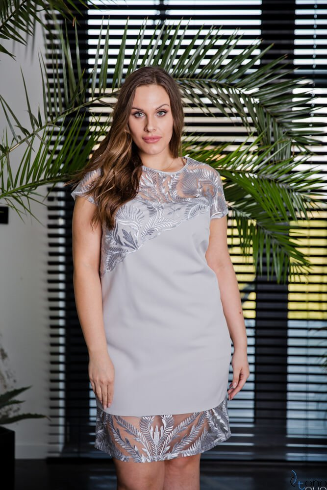 Szara Sukienka ROTARIA Plus Size