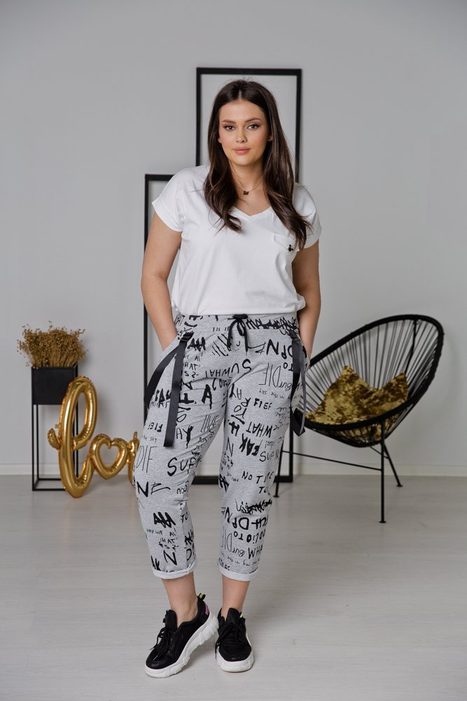 Szare Spodnie ADINA Plus Size