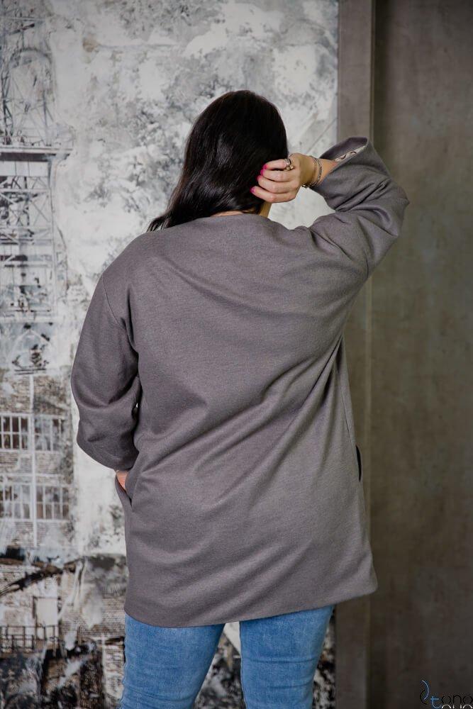 Szary Płaszcz LARA Plus Size