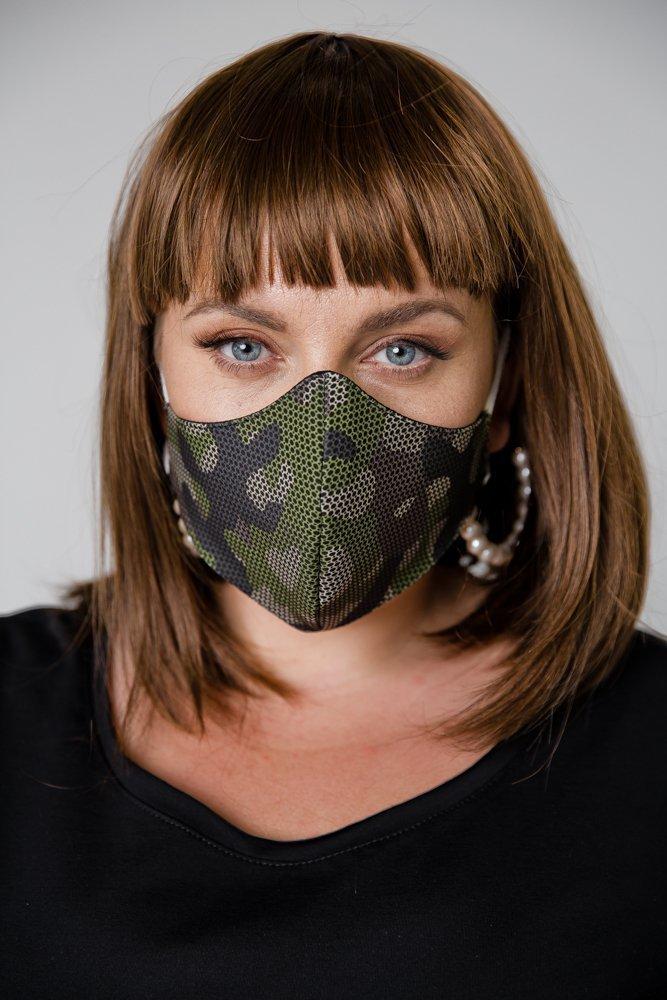 Zielona Bawełniana Maseczka Maska Wielorazowa Wzór 9