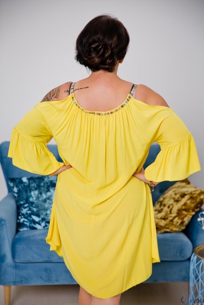Żółta Sukienka SOLENA Plus Size