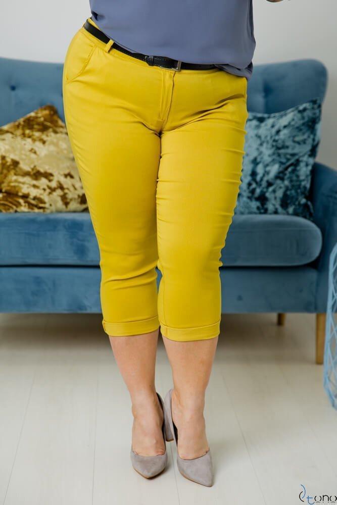 Żółte Spodnie VOLAR Plus Size