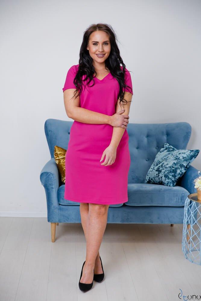Amarantowa Sukienka CARISMA Plus Size