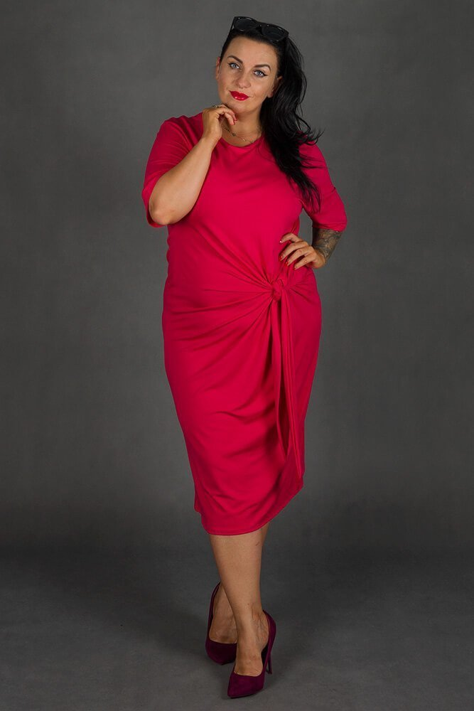 Amarantowa Sukienka GORDES Casual Plus Size