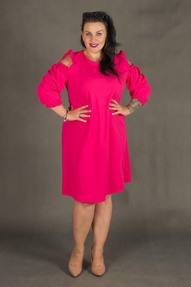 Amarantowa Sukienka POLLY Trapezowa Plus Size
