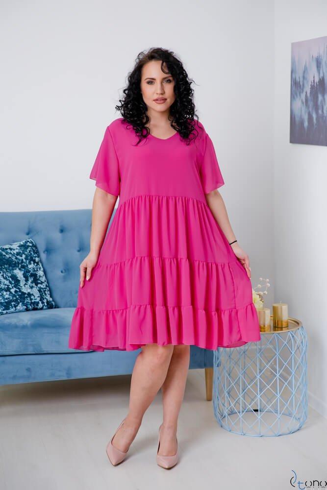 Amarantowa Sukienka VENYS Plus Size