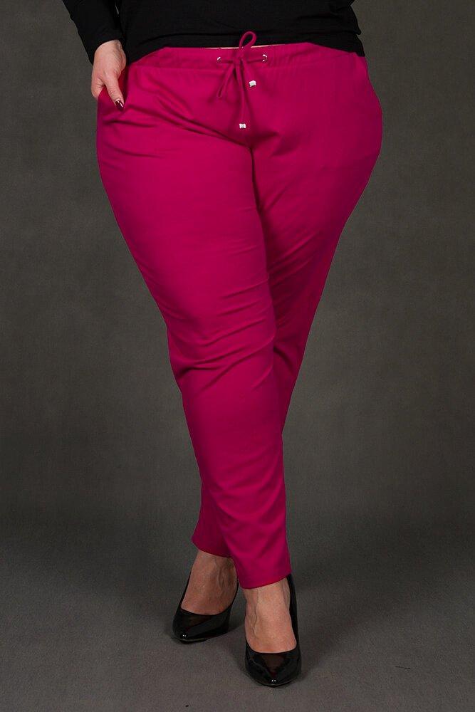 Amarantowe Spodnie damskie MILENA Plus Size wygodne