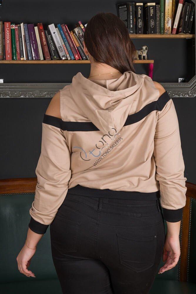 Beżowa Bluza damska AKILA Designerska Size Plus