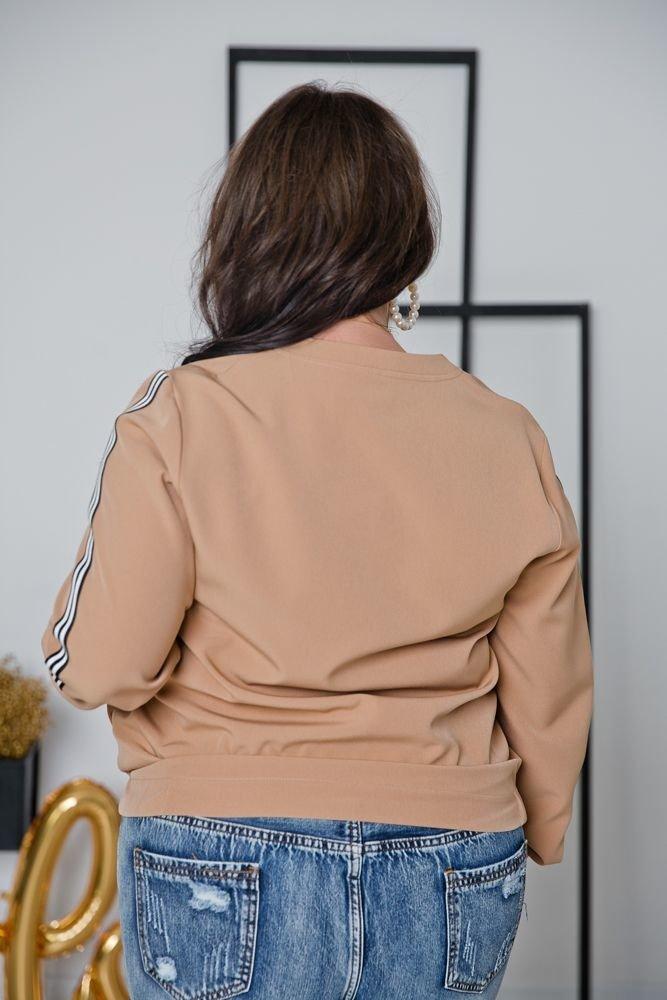 Beżowa bluza ENCARA Plus Size Bomberka