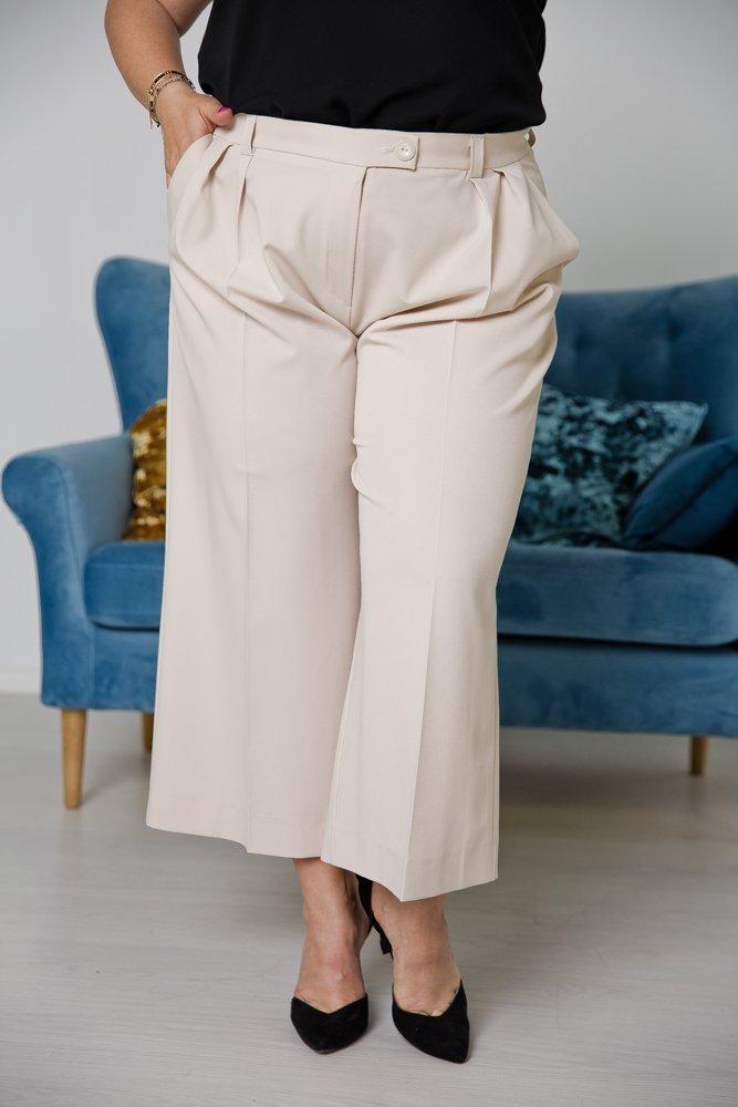 Beżowe Spodnie LARYS Plus Size
