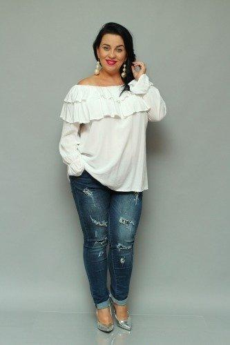 Biała Bluzka BASTIA Hiszpanka Koszulowa Modna Plus Size